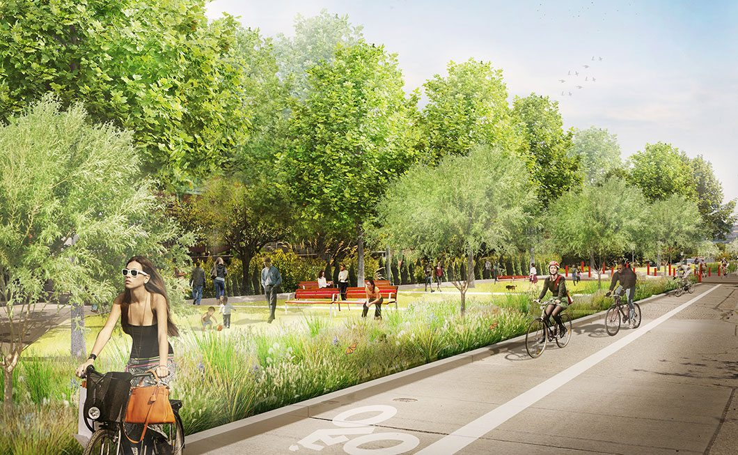Proposed future of 14th Avenue NW Park Boulevard in Seattle's Ballard neighborhood. The Park Boulevard concept supports multimodal travel, community gathering and ecological function. Rendering: Mithun